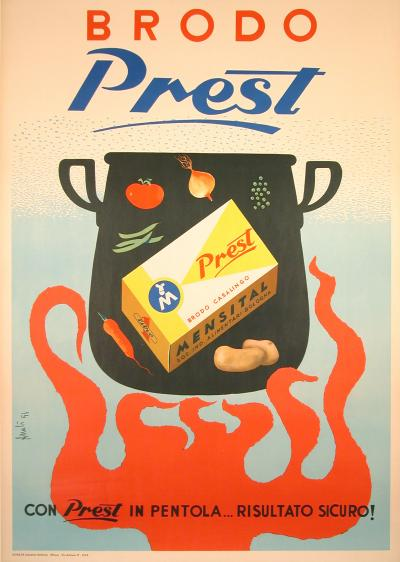 Brodo Prest Vintage Italian Poster for Cooking Stock 1956