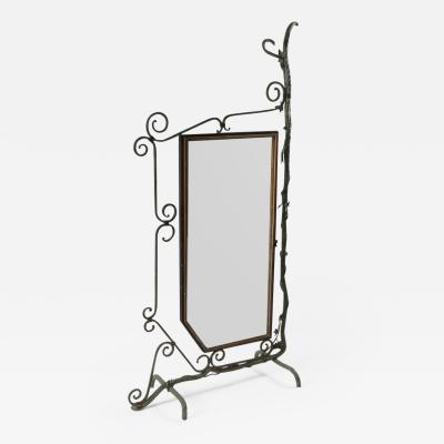 Bronze Brass and Forged Steel Decorative Floor Mirror 1920s