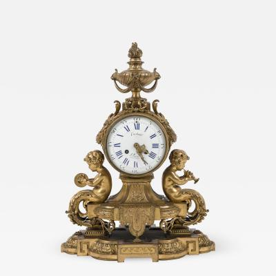Bronze Clock by Costain with Cherubs playing Music