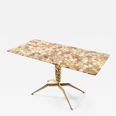 Bronze Coffee Table with a Marble Top Italy 1950s