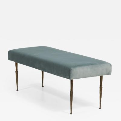 Bronze Legged Velvet Upholstered Stool