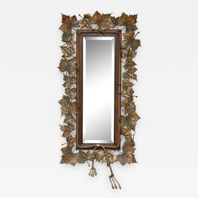Bronze Maple Leaf Decor Mirror