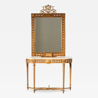 Bronze Mounted Marble Top Console Table and Mirror
