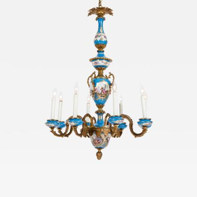 Bronze Mounted Sevres Porcelain Seven Arm Chandelier