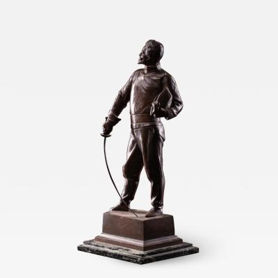 Bronze Patinated statue of Fencer G Devreese 1861 1941