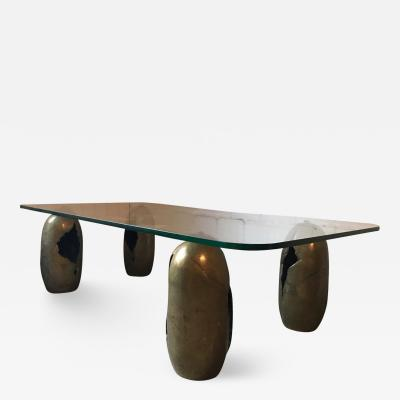 Bronze Sculpture Coffee Table France 1970s