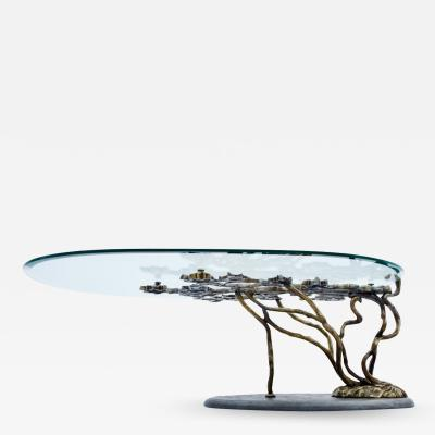 Bronze Tree Form Coffee Table With Slate Base France 1960s