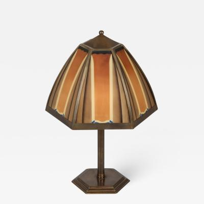 Bronze and coloured glass art deco lamp Netherlands 1920s