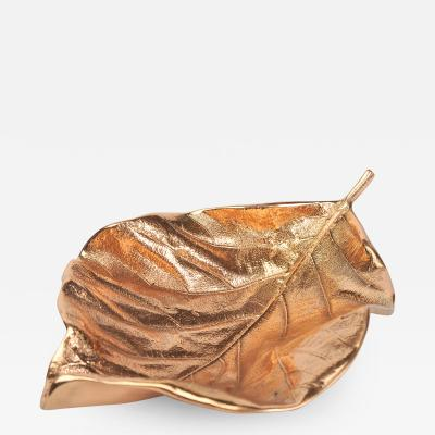 Bronze teak leaf bowl