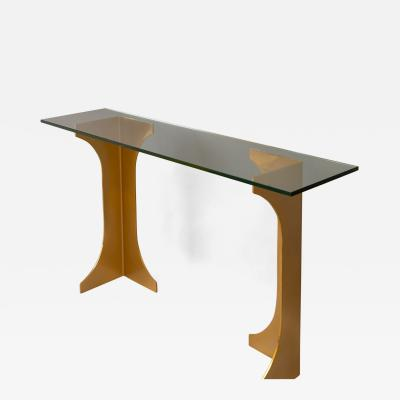 Bronzed Pedestal Console Table France 1970s