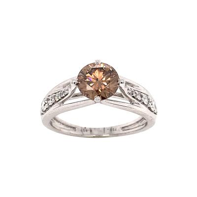 Brown Diamond Round Shape and White Diamonds on White Gold 18K Engagement Rings