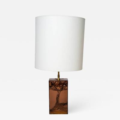 Brown Fractal Resin and Brass Table Lamp