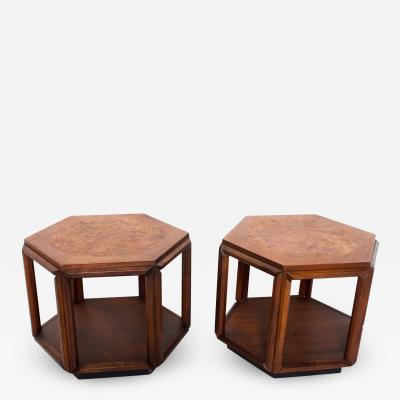 Brown Saltman Mid Century Modern Hexagonal Side Tables by John Keal for Brown Saltman