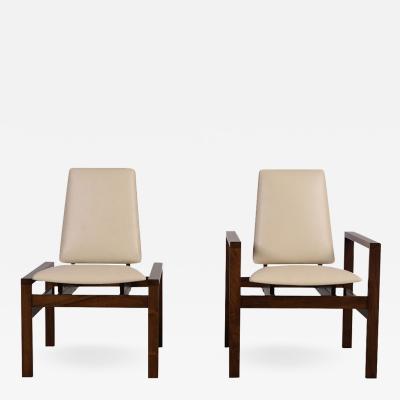 Brown Saltman Pair of Restored Brown Saltman Modern Lounge Chairs