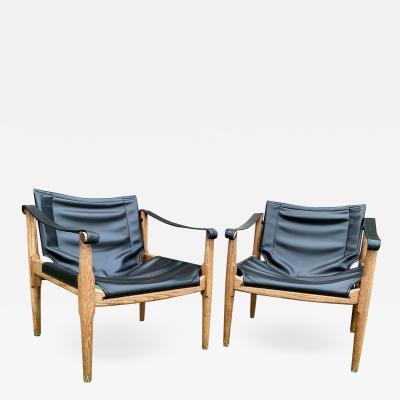 Brown Saltman Safari Sling Chairs Oak Black Leather 1960s by Douglas Heaslett