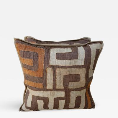 Brown Wheat and Orange Colored Kuba Cloth Pillows Pair