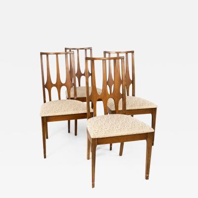 Broyhill Brasilia Brutalist Mid Century Walnut Dining Chairs Set of 4