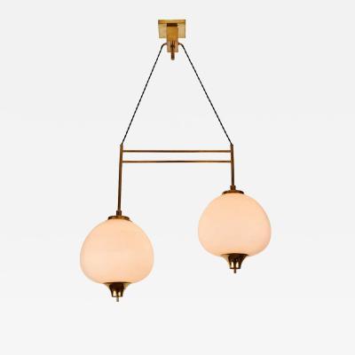 Bruno Chiarini 1950s Bruno Chiarini Double Pendant Suspension Lamp for Stilnovo