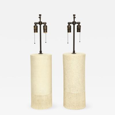Bruno Gambone Pair of Monumental Lamps by Bruno Gambone Italy c 1950