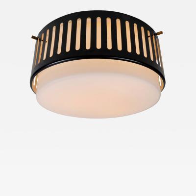 Bruno Gatta 1950s Stilnovo Glass and Metal Ceiling Lamp by Bruno Gatta