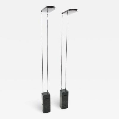 Bruno Gecchelin Pair of Black Marble Floor Lamp by Bruno Gecchelin for Skipper Italy 1974