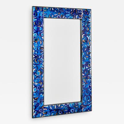 Bruno Martinazzi Rare Enameled Copper Mirror by Bruno Martinazzi