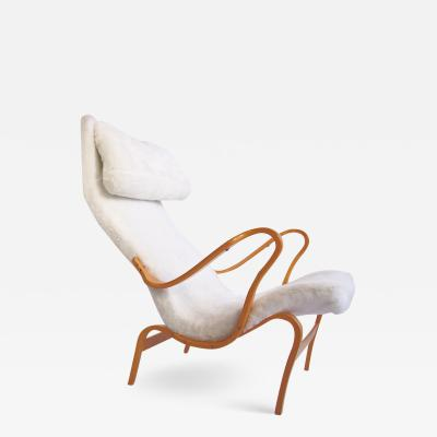 Bruno Mathsson Bruno Mathsson for DUX Pernilla Chair in White Faux Fur