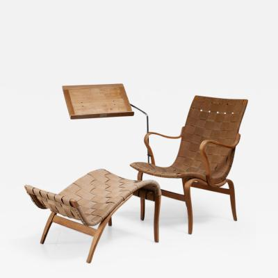 Bruno Mathsson Bruno Mathsson reading chair Eva with ottoman Sweden 1940s
