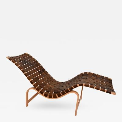 Bruno Mathsson Danish Modern Chaise Lounge by Bruno Mathsson Leather Birch