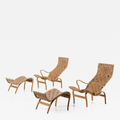 Bruno Mathsson Easy Chairs with Stools Model Pernilla Produced by Karl Mathsson AB