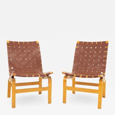 Bruno Mathsson Model 41 Eva Mid Century Lounge Chairs Pair
