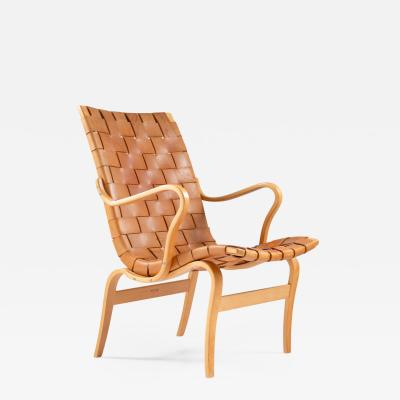 Bruno Mathsson Scandinavian Leather Easy Chair Eva by Bruno Mathsson