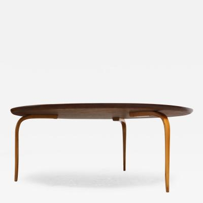 Bruno Mathsson Swedish Teak and Birch Round Annika Coffee Table by Bruno Mathsson