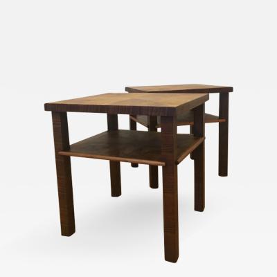 Bruno Paul A Pair of German Art Deco Walnut Side Tables