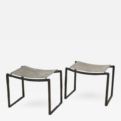Bruno Romeda Pair of Aluminum and Bronze Stools