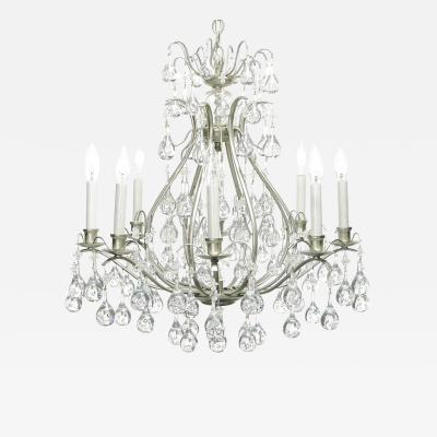 Brushed Nickel and Raindrop Bubble Crystals Eight Arm Chandelier