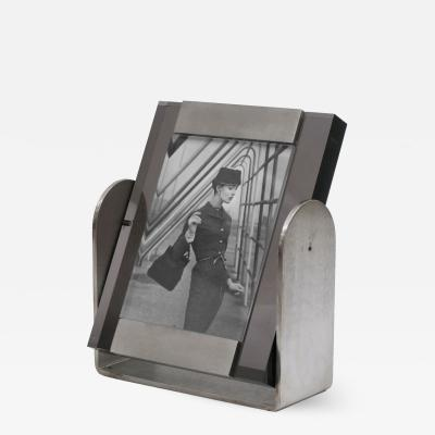 Brushed Steel and Lucite Picture Frame Italy circa 1980s