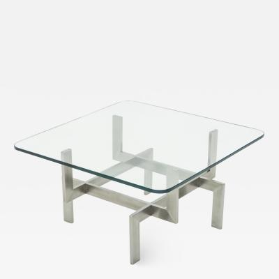 Brushed steel Paul Legeard square coffee table 1970s