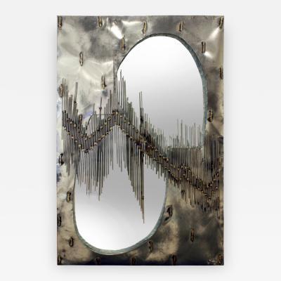 Brutalist Artisan Mirror with Welded Rods 1970s