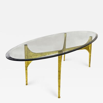 Brutalist Gilt Coffee Table circa 1960 France