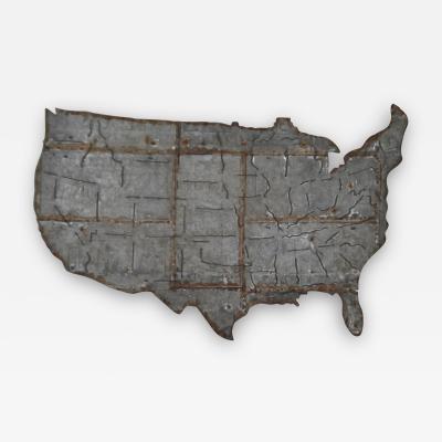 Brutalist Metal USA Map Wall Sculpture