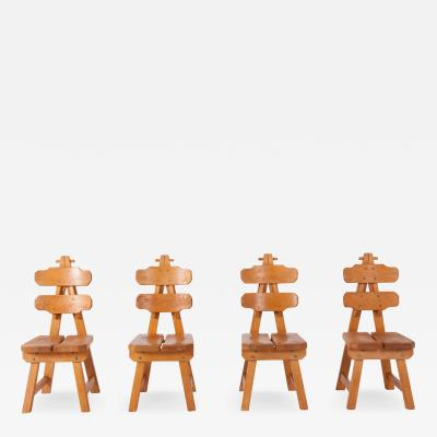 Brutalist Oak Spanish Dining Chairs 1970s