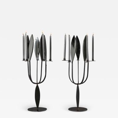 Brutalist Pair of Candelabras with Mirrors 1970s