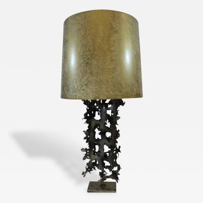 Brutalist Torch Cut Table Lamp in the Style of Fantoni