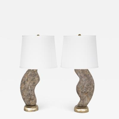 Brutalist cast brass table lamps circa 1970s