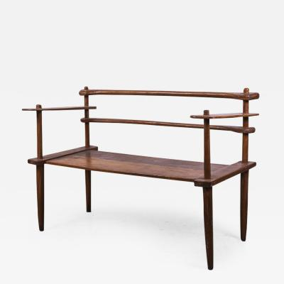 Brutalist rarest mahogany 2 seat settee bench