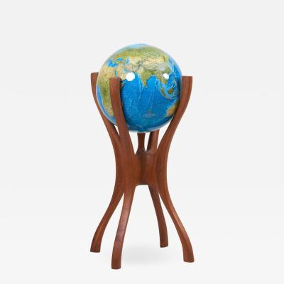 Bud Tullis American Studio Globe Stand with Globe by Woodworker Bud Tullis in 1981 Signed
