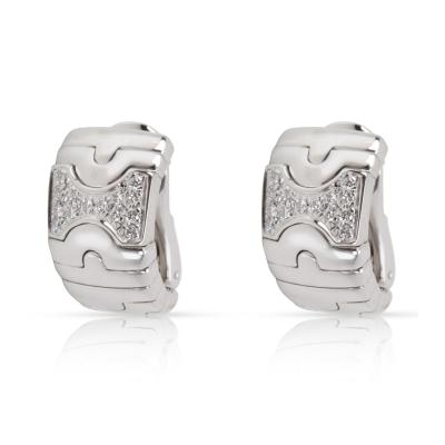 Bulgari Parentesi Diamond Earrings in 18K White Gold 0 5 CTW