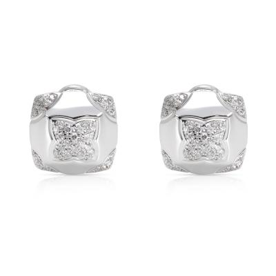 Bulgari Piramide Diamond Earrings in 18K White Gold 0 58 CTW