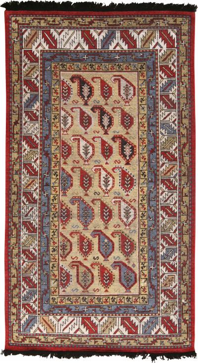 Burano Beige Gold and Red Wool Rug with Boteh Patterns and Blue Accents